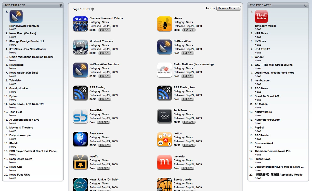 Screenshot of App Store showing NetNewsWire Premium as top paid app in news category.