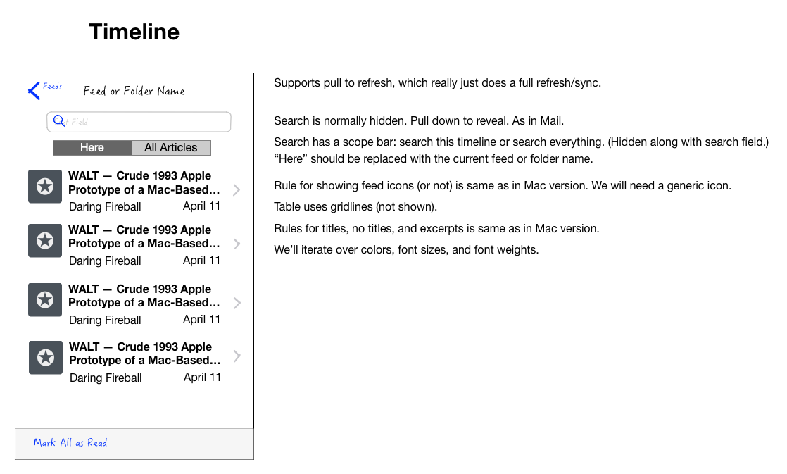 Wireframe of NetNewsWire iOS timeline.