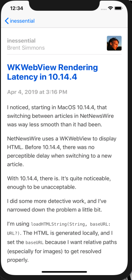 Screenshot of NetNewsWire 5.0 Detail view.