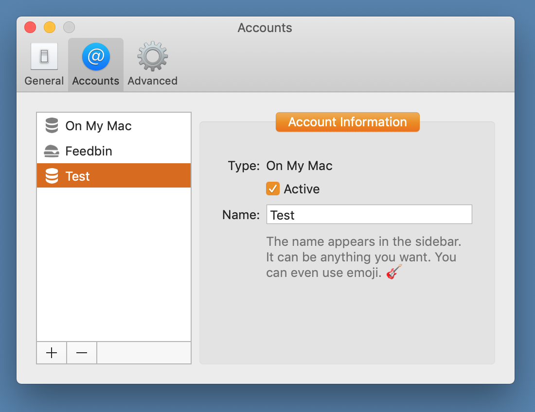 Screenshot showing an On My Mac account called Test.